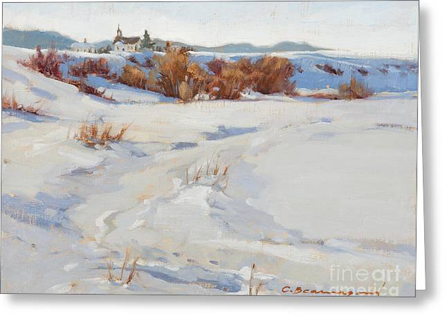 School Houses Paintings Greeting Cards - Winter Perch Greeting Card by Chula Beauregard