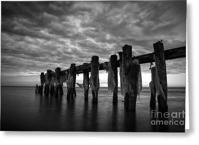 Ocean Landscape Greeting Cards - Winter Pier Greeting Card by Matt  Trimble