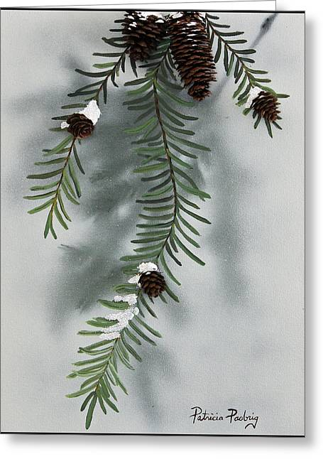 Pine Needles Paintings Greeting Cards - Winter Pine cones Greeting Card by Patricia Pasbrig