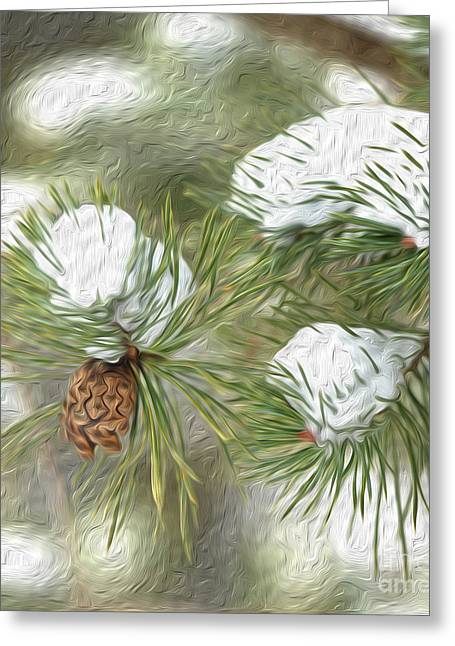 Pine Cones Greeting Cards - Winter Pines Greeting Card by Brian Mollenkopf