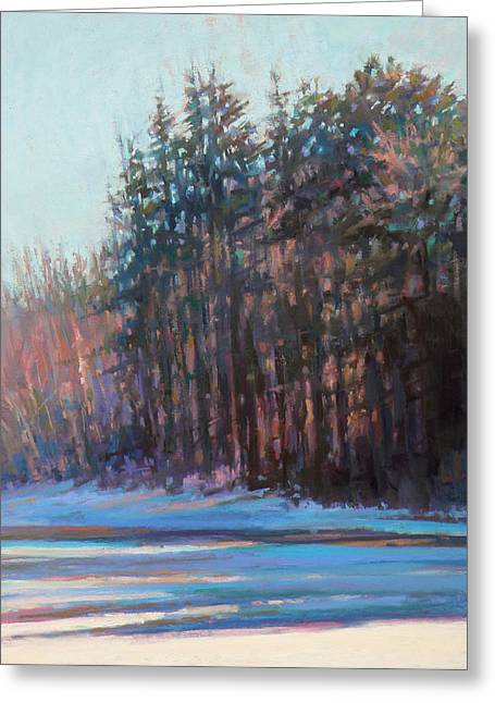 Cape Cod Pastels Greeting Cards - Winter Pines Greeting Card by Ed Chesnovitch