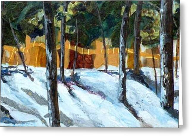 Snow Scene Landscape Mixed Media Greeting Cards - Winter Pines Greeting Card by Saundra Lane Galloway