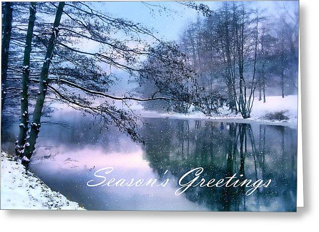 Christmas Card Digital Greeting Cards - Winter Pond Greeting Card by Jessica Jenney