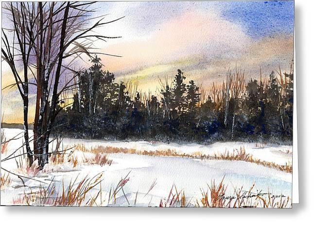 Winter In Maine Paintings Greeting Cards - Winter Pond Greeting Card by Laura Tasheiko