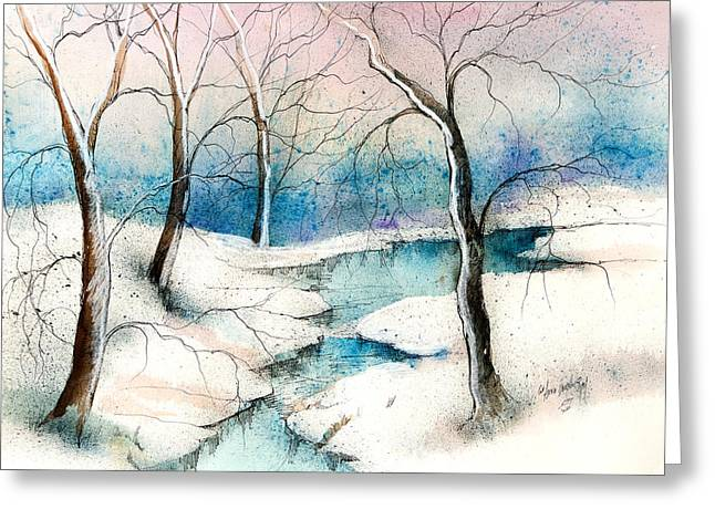 Ice-skating Greeting Cards - Winter Ponds  Greeting Card by Anna Sandhu Ray