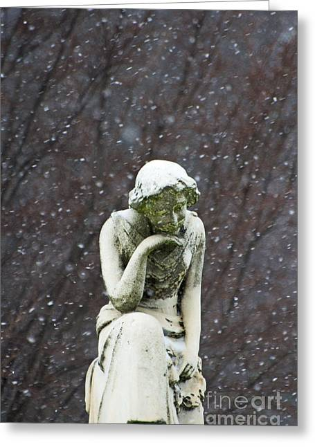 Snow Scene Mixed Media Greeting Cards - Winter Prayers Greeting Card by adSpice Statues