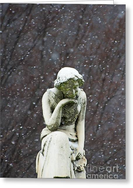 Fall Scenes Mixed Media Greeting Cards - Winter Prayers - Girl Statue in winter landscape and snowflakes Greeting Card by ArtyZen Studios - ArtyZen Home