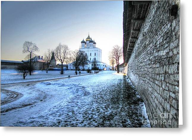 People Pyrography Greeting Cards - Winter Pskov Greeting Card by Yury Bashkin