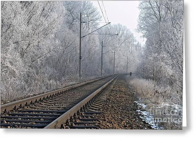 Confluence Greeting Cards - Winter railroad Greeting Card by Martin Capek