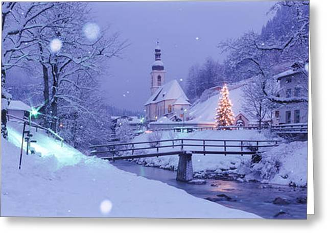 Snowy Evening Greeting Cards - Winter Ramsau Germany Greeting Card by Panoramic Images
