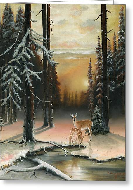 Kinkade Greeting Cards - Winter Redwoods Greeting Card by Cecilia  Brendel