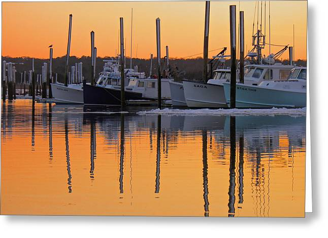 Harbor Sesuit Harbor Greeting Cards - Winter Reflection Greeting Card by Amazing Jules