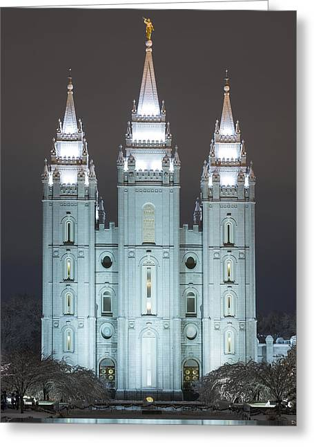 Utah Temples Greeting Cards - Winter Reflection Greeting Card by Dustin  LeFevre