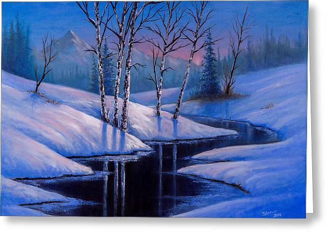 Bob Ross Paintings Greeting Cards - Winter Reflections Greeting Card by C Steele