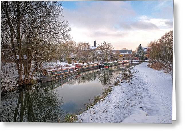 White River Scene Greeting Cards - Winter Reflections on the River Greeting Card by Gill Billington