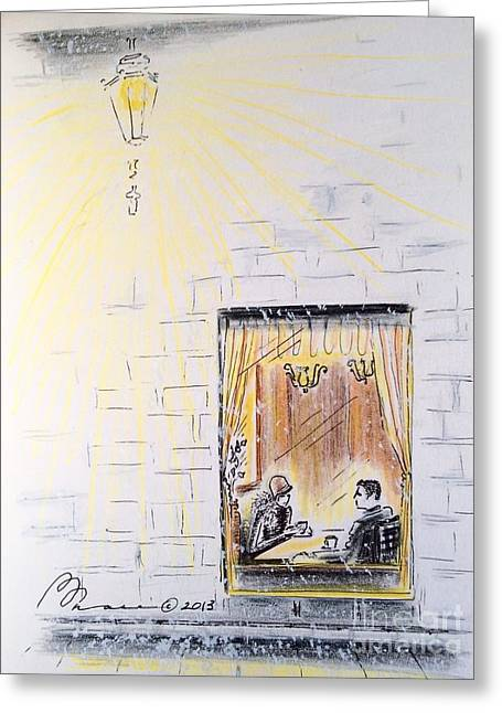 Reserve Drawings Greeting Cards - Winter Rendezvous Greeting Card by Barbara Chase