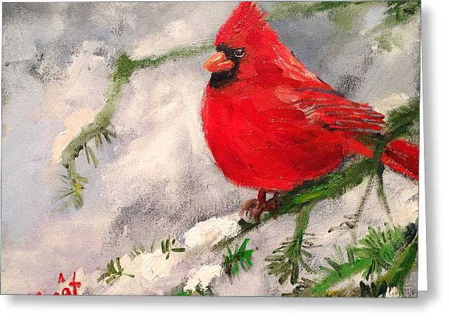 Zoology Paintings Greeting Cards - Winter Rest Greeting Card by Carole Foret