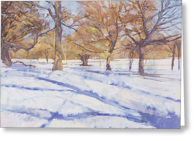 Snowed Trees Greeting Cards - Winter, Richmond Park Oil On Canvas Greeting Card by Christopher Glanville
