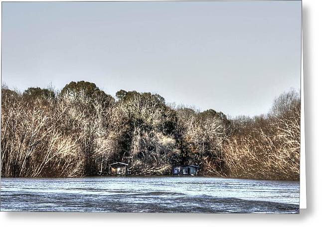 Reflections Of Trees In River Greeting Cards - Winter River Greeting Card by Debra Forand