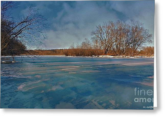 Lewisburg Greeting Cards - Winter River Greeting Card by Mike Griffiths