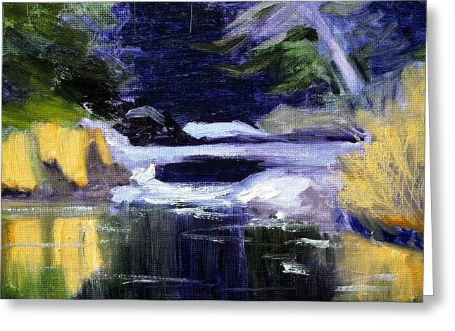 Wa Paintings Greeting Cards - Winter River Greeting Card by Nancy Merkle