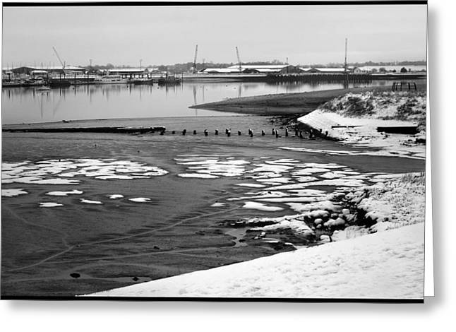 Snow Scene Landscape Greeting Cards - Winter River. Greeting Card by Terence Davis