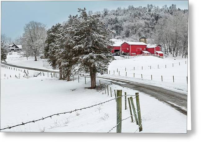 New England Snow Scene Greeting Cards - Winter Road Greeting Card by Bill  Wakeley