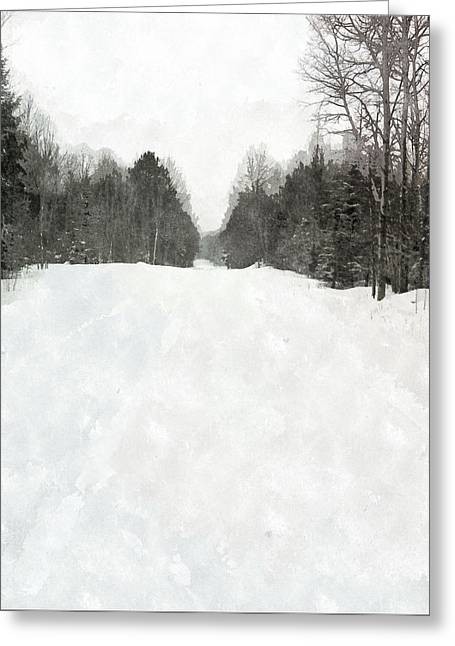 Winter Road Scenes Mixed Media Greeting Cards - Winter Road Greeting Card by Brian Verhoog