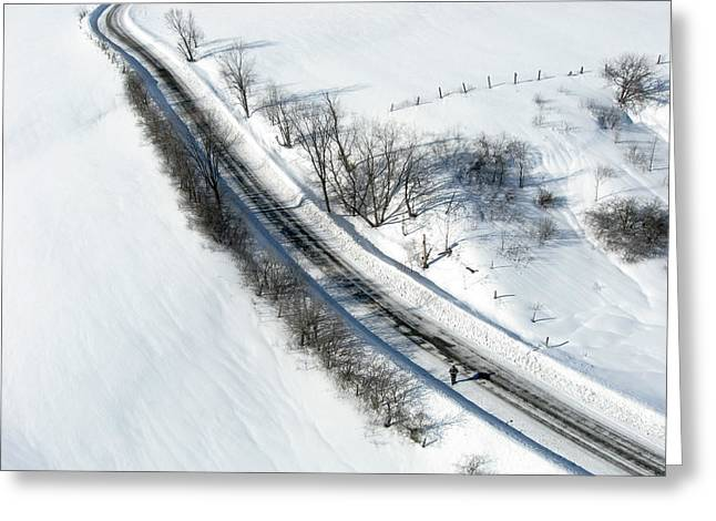 Aerial Greeting Cards - Winter road. Chemin Cross Loop south of Wakefield Quebec. Greeting Card by Rob Huntley