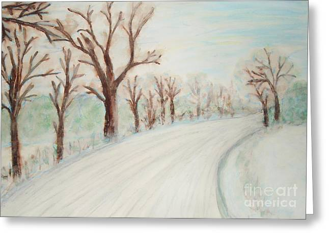 Winter Roads Mixed Media Greeting Cards - Winter Road Greeting Card by Dana Hermanova