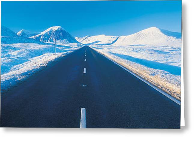 Snow Day Greeting Cards - Winter Road Glencoe Scotland Greeting Card by Panoramic Images