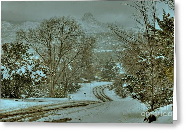 Snowstorm Framed Prints Greeting Cards - Winter Road Greeting Card by K D Graves