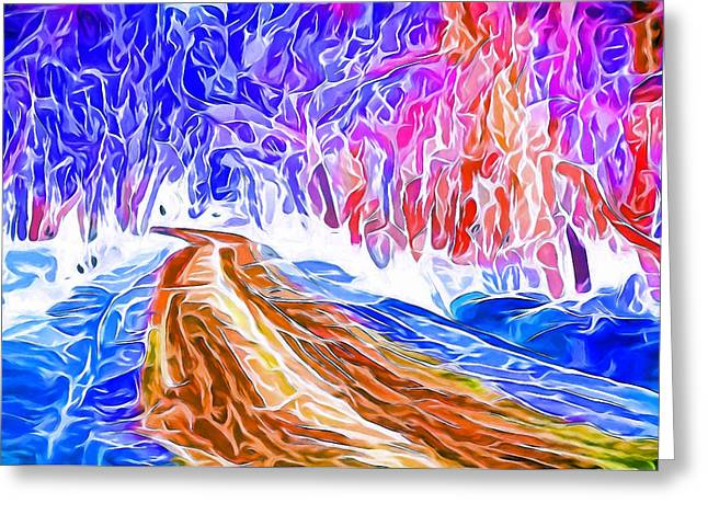 Great Mysteries Greeting Cards - Winter road landscape Greeting Card by Yury Malkov