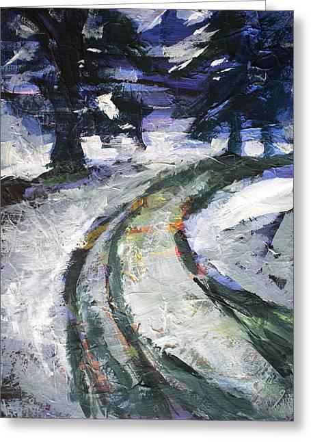 Winter Roads Paintings Greeting Cards - Winter Road Greeting Card by Nancy Merkle