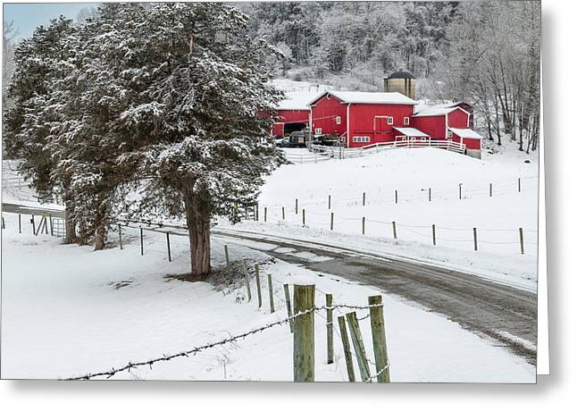 New England Snow Scene Greeting Cards - Winter Road Square Greeting Card by Bill  Wakeley