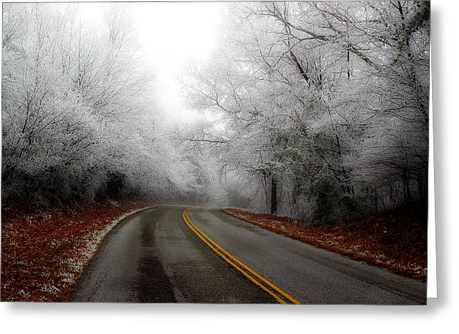 Double Yellow Line Greeting Cards - Winter Road Trip Greeting Card by Michael Eingle