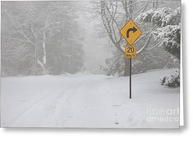 Driving Greeting Cards - Winter road with yellow sign Greeting Card by Elena Elisseeva