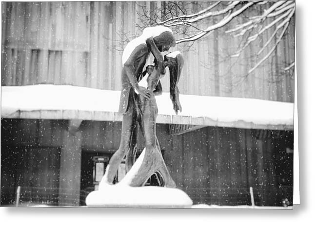 New York City Greeting Cards - Winter Romance - Romeo and Juliet in the Snow - Central Park - New York City Greeting Card by Vivienne Gucwa