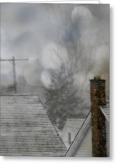 Wintry Digital Art Greeting Cards - Winter Rooftops Greeting Card by Gothicolors Donna Snyder