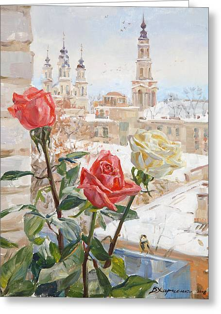 Rose Window Greeting Cards - Winter roses Greeting Card by Victoria Kharchenko