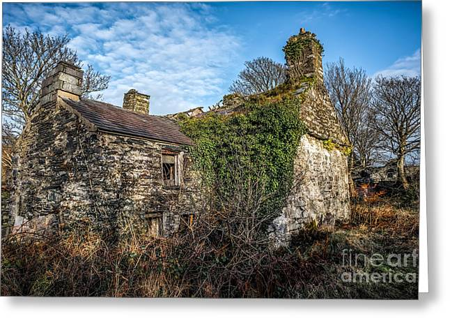 Dilapidated Digital Art Greeting Cards - Winter Ruin Greeting Card by Adrian Evans