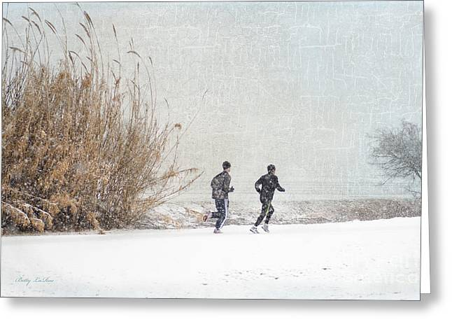 Runner Digital Greeting Cards - Winter Runners Greeting Card by Betty LaRue
