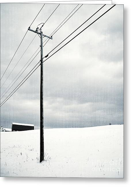 Telephone Poles Greeting Cards - Winter Rural Scene Greeting Card by Edward Fielding
