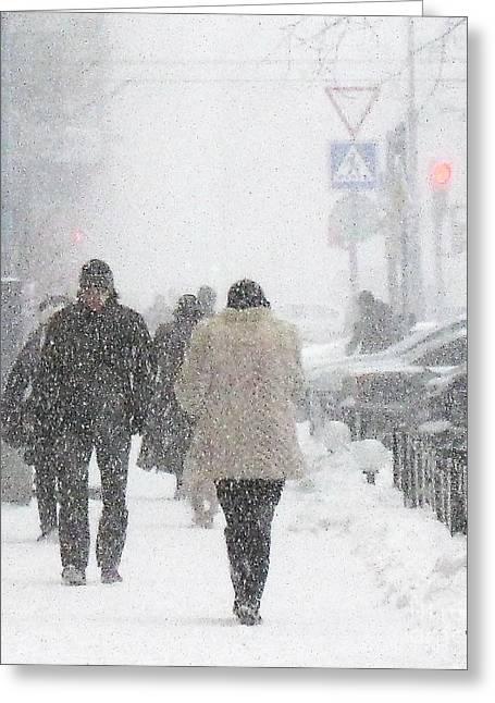 Old Street Greeting Cards - Winter Russia Peterburg Greeting Card by Yury Bashkin
