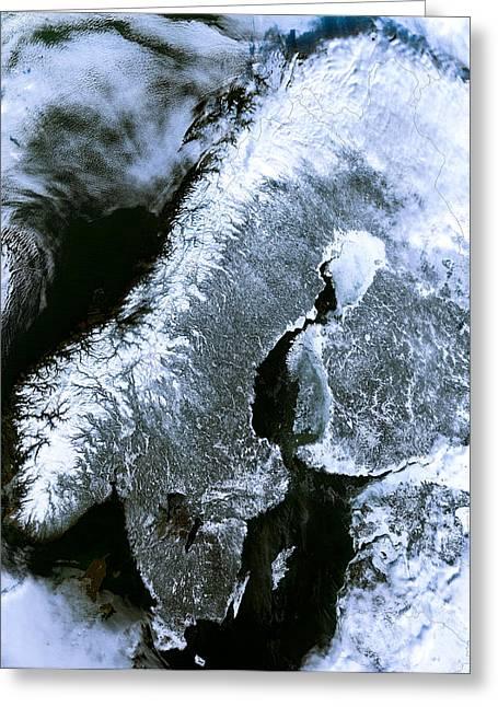 Satellite Image Greeting Cards - Winter Scandinavia Satellite Map Greeting Card by Daniel Hagerman