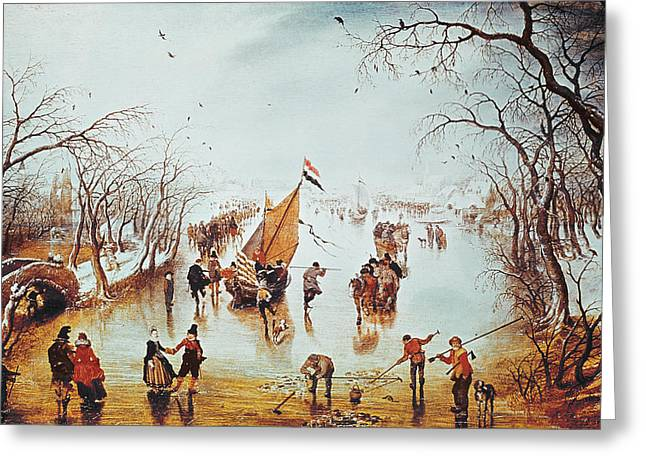 Winter Scenes Rural Scenes Greeting Cards - Winter Scene Greeting Card by Adriaen Pietersz van de Venne