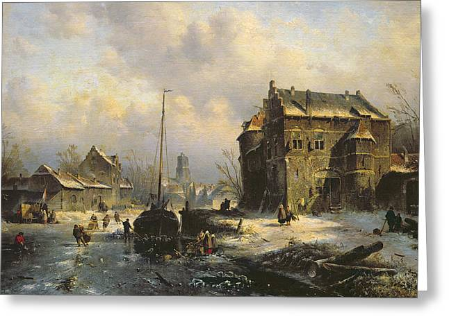 Winter Scenes Rural Scenes Greeting Cards - Winter Scene Greeting Card by Charles-Henri-Joseph Leickert