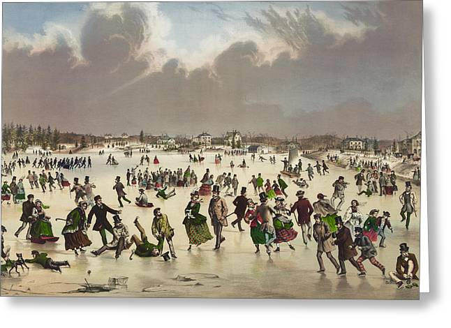 Skaters Greeting Cards - Winter scene circa 1859 Greeting Card by Aged Pixel