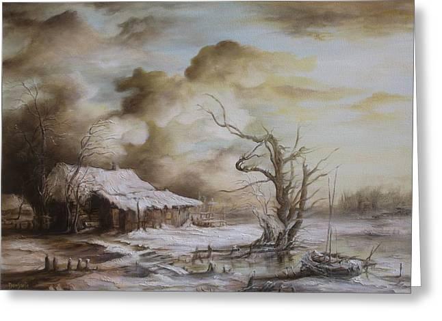Winter Scene Greeting Card by Dan Scurtu