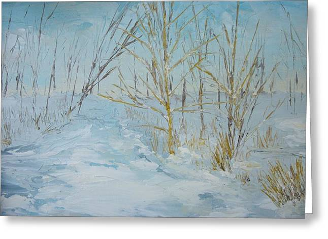 Dwayne Gresham Paintings Greeting Cards - Winter Scene Greeting Card by Dwayne Gresham